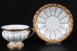 Meissen X-Form 1.Wahl - Kaffeetasse mit Untertasse, coffee cup,Porzellan, blaue Schwertermarke 1.