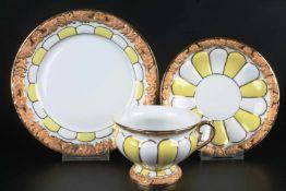Meissen X-Form Kaffeegedeck, coffee cup with dessert plate,Porzellan, blaue Schwertermarke 2.