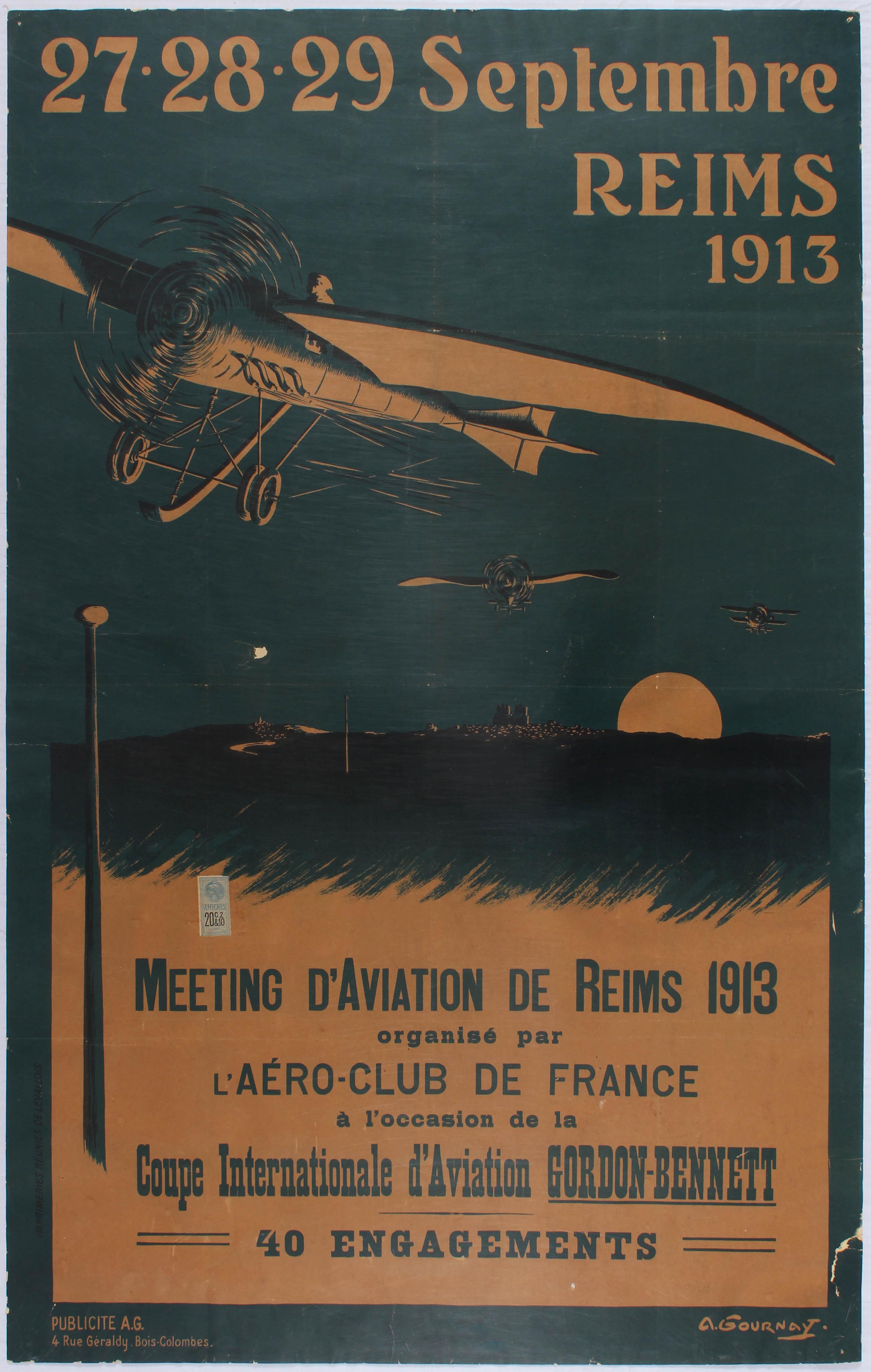 Travel Poster Meeting D'Aviation de Reims 1913