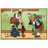 Advertising Poster Hassall Drury Lane Pantomime Babes In The Wood