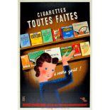 Advertising Poster French Cigarettes Gauloises Gitanes