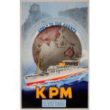 Advertising Poster KPM Shipping Netherlands Art Deco