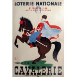 Advertising Poster Loterie Nationale Cavalry France
