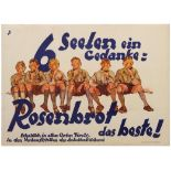 Advertising Poster Rosenbrot Best Bread Loaf Brown Shirts