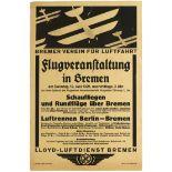 Advertising Poster Bremen Aviation Germany Lloyd Luftdienst Airline