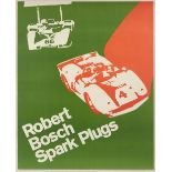 Advertising Poster Robert Bosch Spark Plugs Green Car Racing