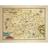 Advertising Poster Countie of Greater Manchester Map John Speed