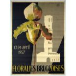 Advertising Poster Flowers Bruges Floral Show Belgium Orchid