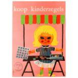 Advertising Poster Children Stamps Koop Kinderzegels