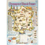 Advertising Poster France Cheese Wine Illustrated Map