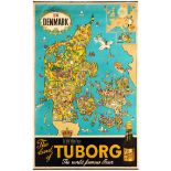 Advertising Poster Tuborg Beer Denmark Map Mielche Brewery
