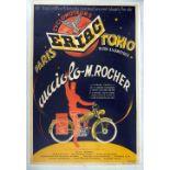 Advertising Poster Motorcycle Cucciolo Rocher Paris Tokyo Art Deco