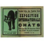 Advertising Poster International Cat Show Belgium Feline Society
