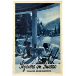 Travel Poster Sejours en Suisse Swimming Mountains Switzerland