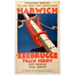 Travel Poster Harwich Zeebrugge Railway Ferry Frank Newbould