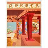 Travel Poster Greece Crete Palace Of Knossos