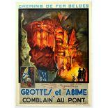 Travel Poster Grottes Et Abime Grotto Cave Of Comblain Belgium Railways