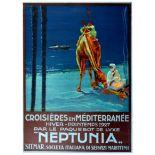 Travel Poster Mediterranean Cruises via Neptunia
