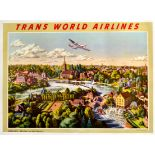 Travel Poster TWA Airlines England Marlow Constellation