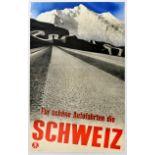 Travel Poster Schweiz Switzerland Fur Schone Autofahrten Photo Gravure Herbert Matter