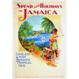 Travel Poster Blue Lagoon Jamaica West Indies