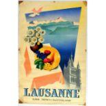 Travel Poster Lausanne Switzerland