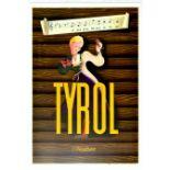 Travel Poster Tyrol Austria Mountains Roses
