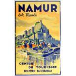 Travel Poster Namur Sur Meuse River Castle Citadelle