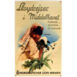 Travel Poster Mediterranean Cruises Hapag Norddeutscher Lloyd