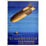 Travel Poster Across the Ocean in 2 days German Zeppelin