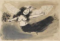 Chagall, Marc (1887 Peskowatik bei Witebsk - Saint-Paul-de-Vence 1985). Femme-oiseau. Farblithographie auf Papier. E. und in der Platte sign., num. 13/50, nicht bezeichnet und dat. (1950). Sichtmaß: 48 x 58 cm. - Unter Glas (nicht geöffnet). - Mourlot 49. - Etw. gebräunt, kleine Delle am Oberrand.   Femme-oiseau. Colour-lithograph on paper. Signed in pencil as well as on the stone and numbered 13/50, not labelled or dated (1950). - Visible size 48 x 58 cm. - Framed under glass (unopened). -...