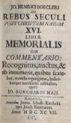 Boecler,J.H.Boecler,J.H. De rebus seculi post christum natum XVI. liber memorialis. CumBoec