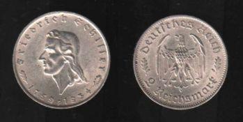 Deutsches Reich. Silbermünze. 2 Reichsmark.175. Geburtstag von Friedrich von Schiller. F 1934.