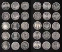 Deutschland. 15 Silbermünzen zu 5 DM.Gedenkmünzen. 1957 - 1970. Vorderseiten: Jeweils zum
