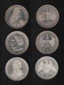Deutschland. 3 Silbermünzen à 5 DM.Ludwig Wilhelm Markgraf von Baden, Joseph Freiherr von