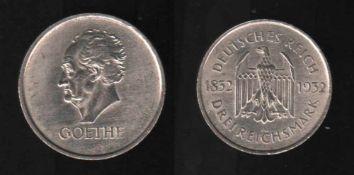 Deutsches Reich. Silbermünze. 3 Reichsmark.100. Todestag von Johann Wolfgang von Goethe. A 1932.