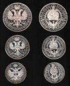 Goslar. 3 Feinsilber - Nachprägungenaus den Jahren 1973 - 1982: Goslar Vierteltaler von 1659;