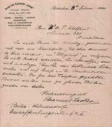 """Lasker, Emanuel.Eigenhändig geschriebener Brief von Emanuel Lasker an W. A. T. Schelfhout in deutscher Sprache, signiert, mit gedrucktem Briefkopf vom Grand Café - Restaurant """"Caland"""" Rotterdam und datiert vom 3. Februar 1920. Einseitig beschriebenes Blatt. Blattgröße 21,5 x 24,5 cm. (81) * Lasker schreibt: """"Ich mache Ihnen den Vorschlag, gemeinsam mit mir eine Schachspalte, die etwa einmal die Woche erscheint, im """"Telegraaf"""" zu redigieren. Ich möchte deutsch schreiben, ..."""