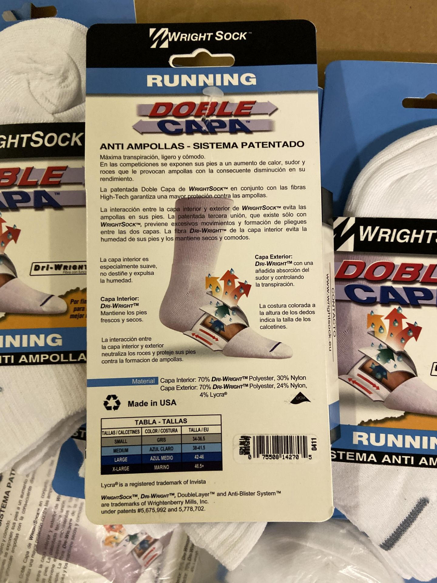 500+ packs of New Socks, Wrightsock Running and Coolmesh, Double Layer, White w. Various Stripes - Image 7 of 7