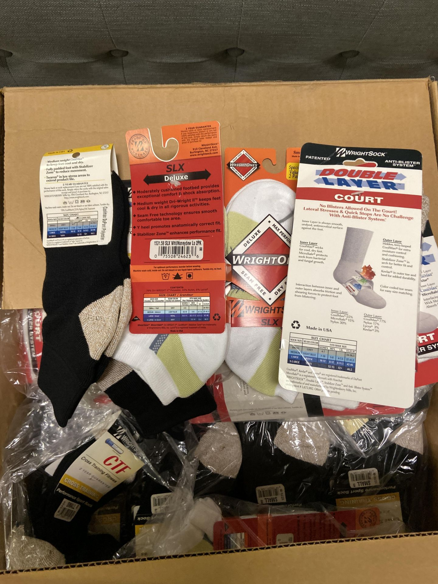 250+ packs of New Socks, Wrightsocks Various Styles, Various Colors - Image 2 of 2