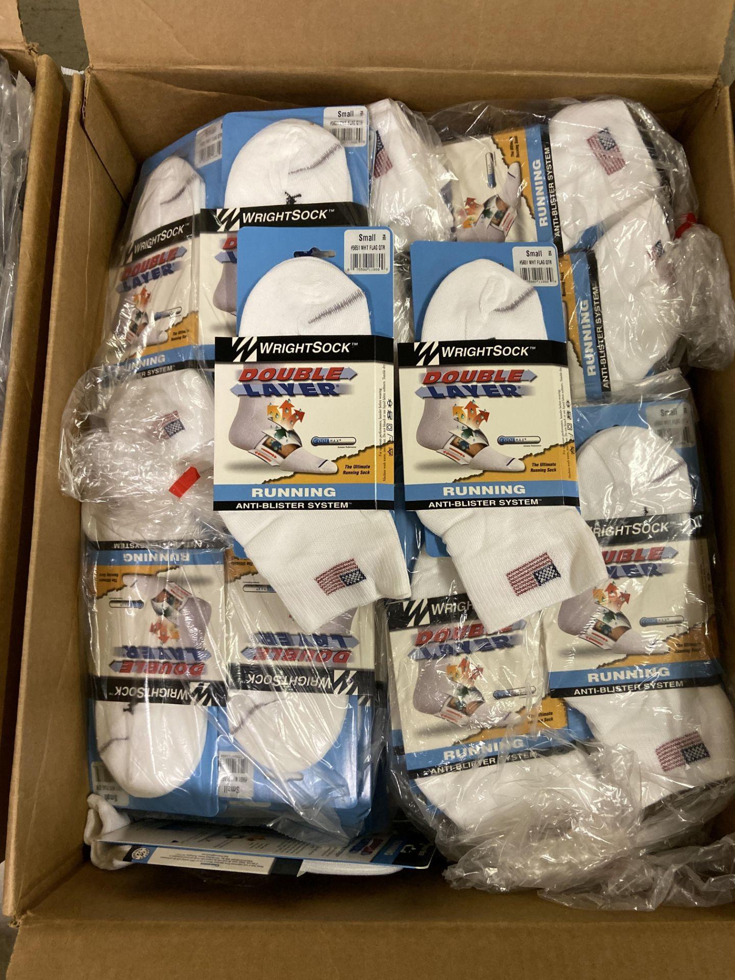 500+ packs of New Socks, Wrightsock Running, Double Layer, USA America Flag White - Image 2 of 5