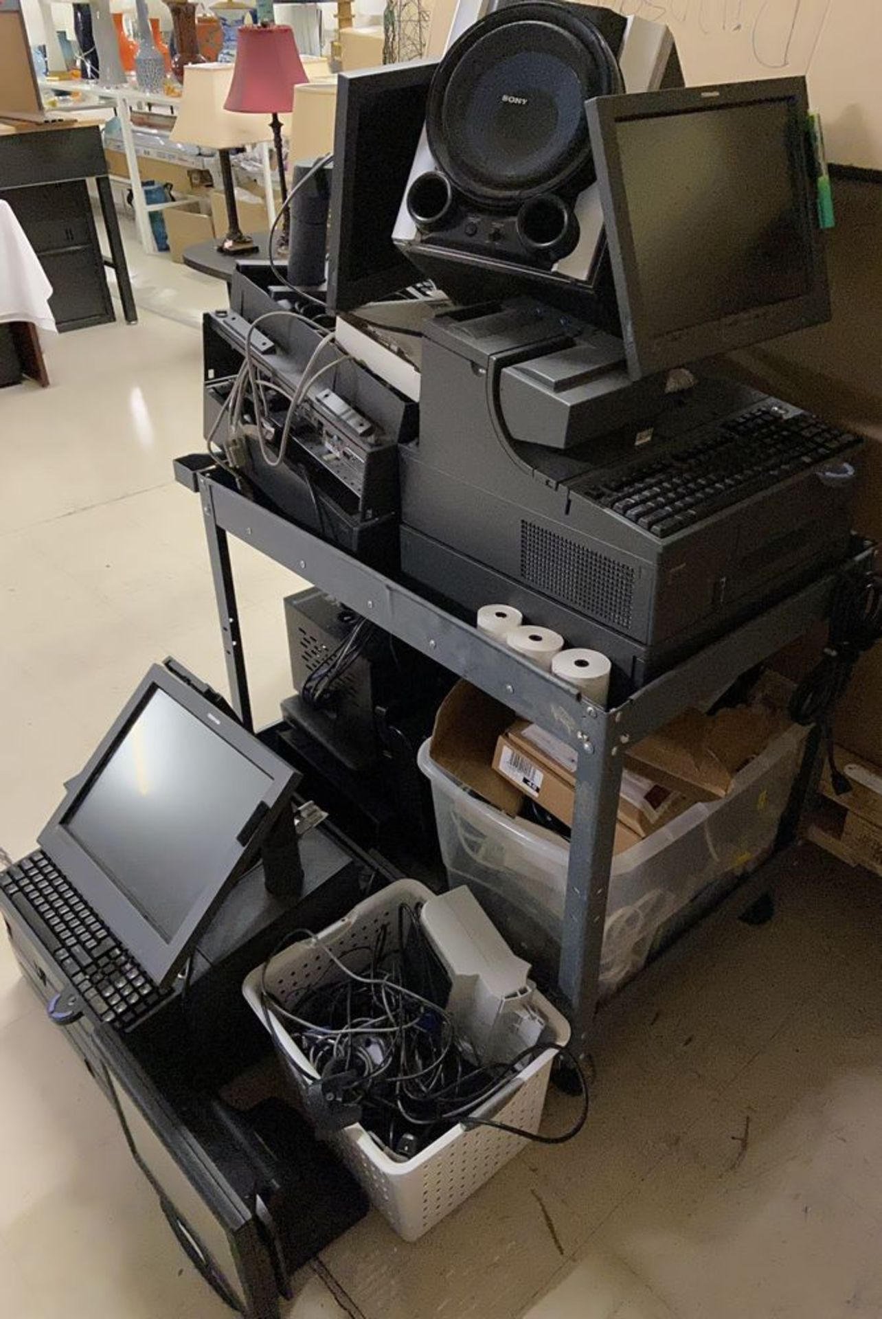 Lot 65 - Pallet of Toshiba POS Cash Registers, Computer Towers and Cables etc