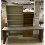 4 Large Furniture Pieces: 2 Cabinets, 6.5 foot Table, New Folding Closet Doors