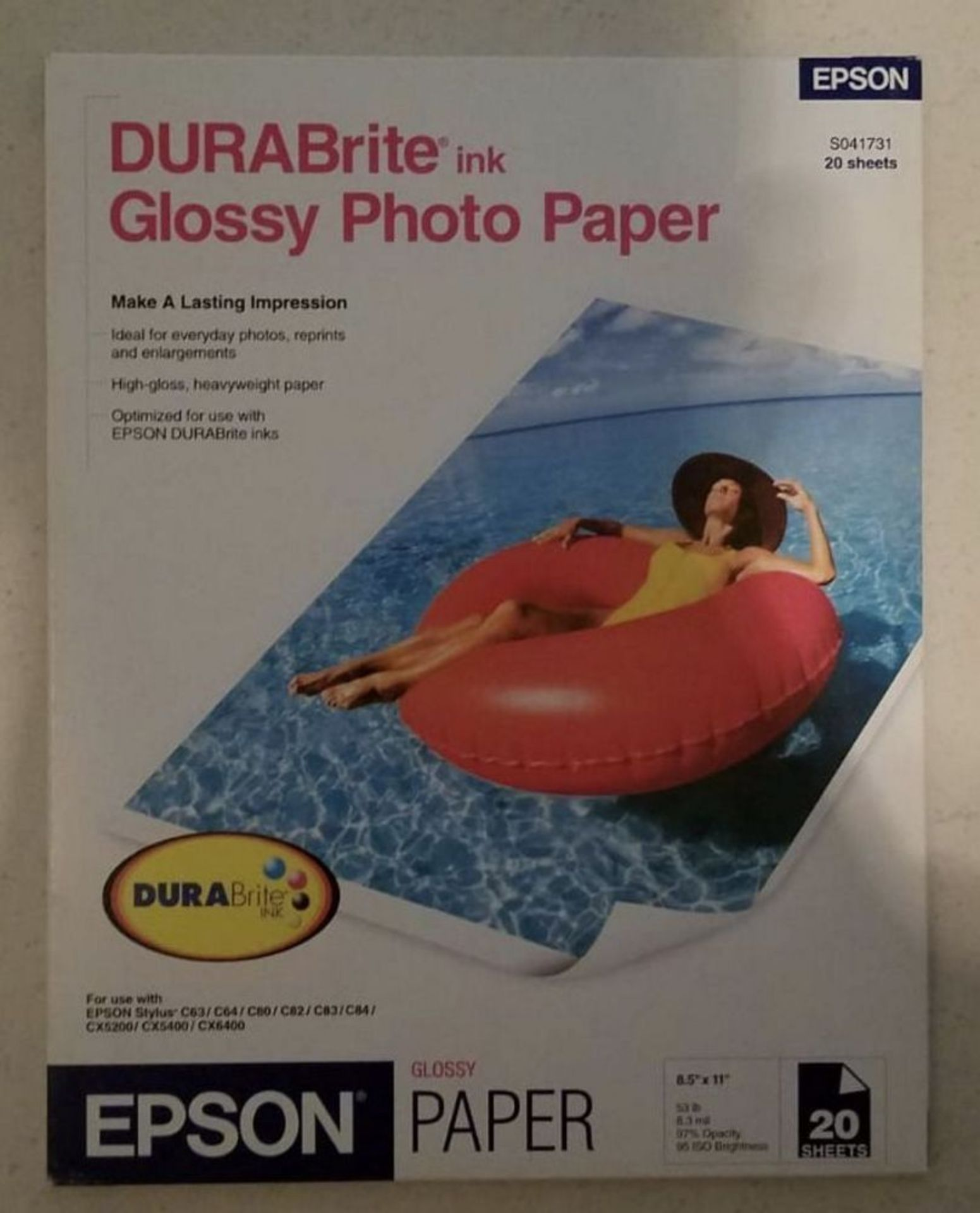 """Lot 195 - 410 Packs of Epson DURABrite Glossy Photo Paper 8.5x11"""", All new, Case packed **For pick up or"""