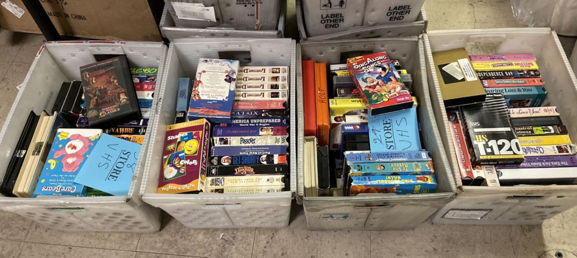 Lot 56 - 385+ VHS Movie Videos, Including Disney, Three Stooges, and other classics