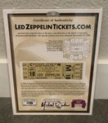 LED ZEPPELIN ORIGINAL TICKET FROM 1980 CHICAGO TOUR WITH COA 8.5X11