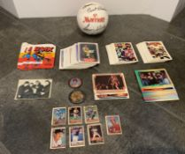 LOT OF OLD VINTAGE CARDS, KISS, BEATLES, BMX, ACDC , Larry Steele #15 SIGNED MINI BALL