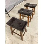 3 BROWN LEATHER STOOLS