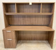 LARGE OFFICE WORK DESK WITH STORAGE CABINETS ABOVE
