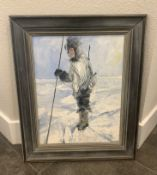 """REEVES INUIT PAINTING FRAMED 1973 SIZE 19X23"""" OIL ON CANVAS"""